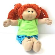 Cabbage Patch Kids Signed Xavier Roberts And03984 Soft Doll Hard Face Redhead Pigtail