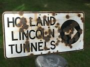 Rare Vintage New York City New Jersey Lincoln Tunnel Porcelain Sign Circa 940and039s