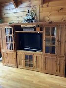 4 Pc. Large Entertainment Center Wormy Chestnut Wall Unit - Excellent
