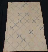 Antique Baby Quilt Postage Stamp Crib Size Pink White Yellow Blue Green Toddler