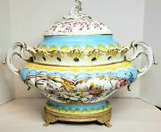 Antique Large Carpie Nove Italy Hand Painted Tureen 15x19 Gold Trimmed