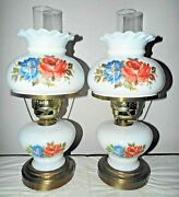 Gwtw A Pair Vintage 3-way Fancy Thick Milk Glass Floral Display Hurricane Lamps