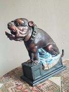 Vintage Cast Iron Book Of Knowledge Bull Dog Mechanical Bank E 20th Century Xlnt