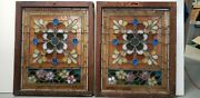 Antique American Stained Glass Window Pair Architectural Salvage