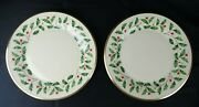 2 Lenox China Holiday Holly And Berries Dinner Plates 10-3/4