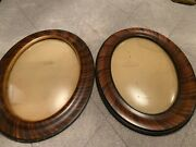 Two Oval Antique Bubble Glass Convex Tiger Stripe Wood Frames