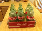 Rare Coke Coca Cola 64 Ounce Wooden Case With 6 Acl Bottles