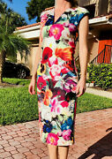 Ted Baker Odeela Floral Swirl Print Dress In Fuchsia S/z 2, New With Tags