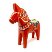 1960s Large Swedish Carved Wooden Dala Horse By Nils Olsson