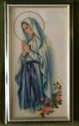 Cross Stitch Completed Hand Made Art Maria Mary Religious Gift Home Decor