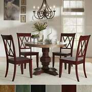 Eleanor Red Round Solid Wood Top 5-piece Dining Set - X Back