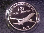 2018 Boeing Employees Coin Club 1.5 Oz Silver 737 Medal 10000 Delivered .beht