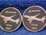 Two 2020 Boeing Employees Coin Club 1.5 Oz Silver 777 -9 Medals . 13beht