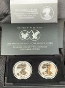 In Hand 2021 American Eagle One Ounce Silver Reverse Proof Two-coin Designer Set