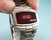 Gorgeous Stainless Steel Wittnauer Polara Vintage Red Led Menand039s Watch