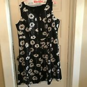 Talbots Womens Petite Dress Sleeveless Fit And Flare Black With White Daisies 18wp