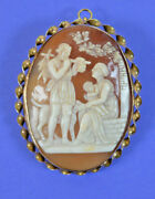 Antique Large 14k Gold Carved Shell Family Scene Pendent/brooch