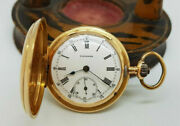 Antique Longines Solid 18k Gold White Dial Full Hunter Pocket Watch 35 Mm.,35 G.