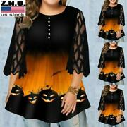 Plus Size Halloween Womens Pumpkin Print Blouse Ladies Lace Sleeve Pullover Tops