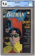"""Batman 427 Cgc 9.6 Nm+ White Pgs 12/88 """"a Death In The Family"""" Part 2 Of"""