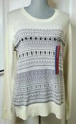 Merona Women's Long Sleeve Pullover Sweater White Sand Embellished Size L Nwt