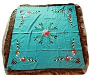 Hand Sewn Russian Tablecloth Turquoise Appliqued Folk Art 57 X 54 Fringed Decor