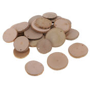 30 Pieces Unfinished Pre-drilled Diy Wood Slices Wedding Craft Materials Wood