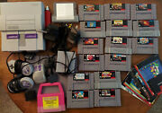 Super Nintendo Snes Console, Games, Controllers, Booklets, And Accessories