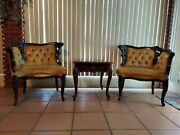 Set Of 2 Rococo Style Chairs And Coffee Table Antique Collectible Furniture 1980
