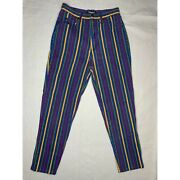 Vintage Striped Jeans Womens 11 12 High Rise Best American Clothing 80s 90s