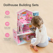 3layers Large Kid's Wooden Pink Dollhouse Family Doll House W/furniture Toy Gift