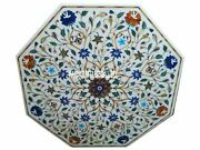 White Marble Coffee Table Top Marquetry Multi Mosaic Furniture Home Decors H3022