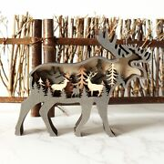 1pc Christmas Wooden Reindeer Forest Animal Decoration Outdoor Ornaments New