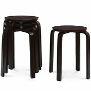 Set Of 4 18 Stacking Stool Round Dining Chair Backless Wood Home Decor Brown