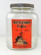Vintage Battleship 1lb Glass Coffee Jar - Canby Ach And Canby Co. Dayton Oh T745a