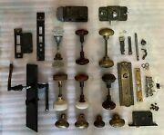 Large Lot Of Antique Door Hardware Knobs Locks Parts Screws And More
