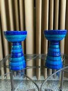 Rosenthal Netter Bitossi Candle Holder In Rare Blue And Green