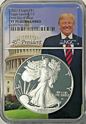 2021-s 1 American Silver Eagle T-2 Ngc Pf70 Uc First Day Of Issue - Trump 🇺🇸