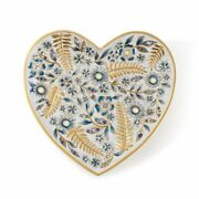 Jay Strongwater 'aria' Delft Blue Floral Heart Trinket Tray, Factory New