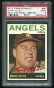 2013 Topps Heritage Real One Red Auto Hank Foiles Psa 9 Mint 25397244