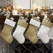 Christmas Stockings 4 Pcs 18 Inches Burlap Cotton Quilted Thick Luxury Stocking