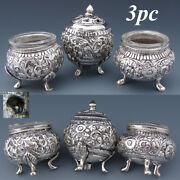 Ornate Antique Continental .800 Solid Silver 3pc Open Salt And Pepper Shaker Set