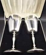 Solid Silver Large Heavy Pair Of Wine Goblets