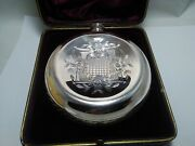 Solid Silver Rare Victorian Round Whisky Flask
