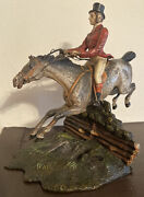 Antique Cold Painted Vienna Bronze Horse And Rider Equestrian - Large