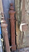Set Of 3 Antique Cast Iron Fence Or Gate Newel Posts Made In Detroit C.1890