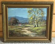 H. Clyde Signed Original Oil Painting On Composite Board In A Beveled Gold Frame