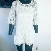Divided By Handm Womens White Round Neck Short Sleeve Floral Shift Dress Size 6