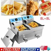 Commercial Stainless Steel Deep Fryer Double Tank Basket Restaurant Home 16l Us