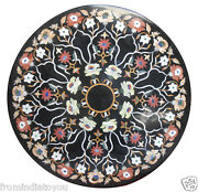 36x36 Black Marble Coffee Center Table Top Mosaic Inlaid Art Home Decors H2384